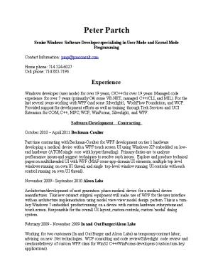Peter Partch Resume