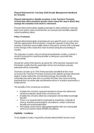 Phased Retirement for Teaching Staff (People Management Handbook for Schools)
