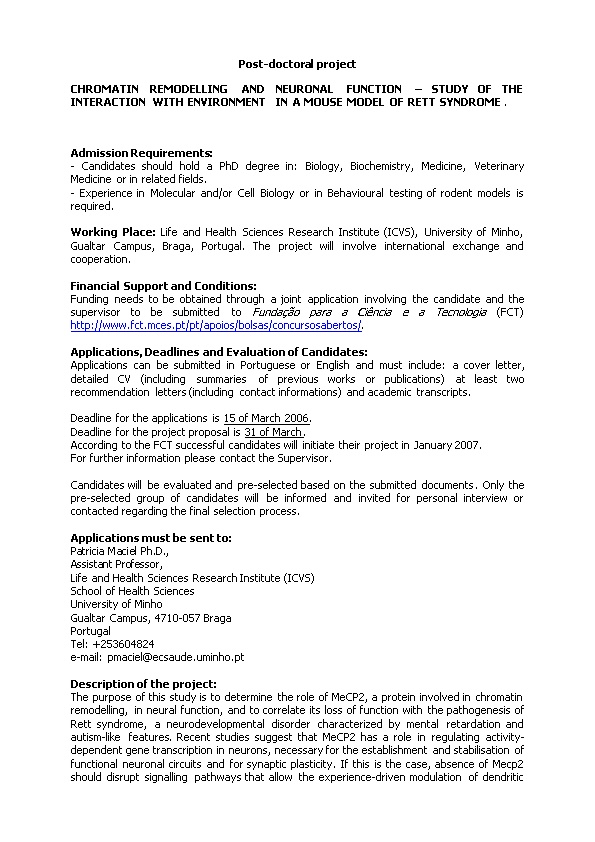 Phd Project Is Available on Identification of Novel Genes Involved in Translocation Associated