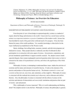 Philosophy of Science: an Overview for Educators