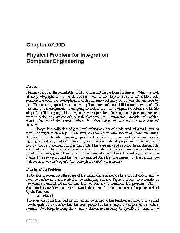 Physical Problem for Integration: Computer Engineering