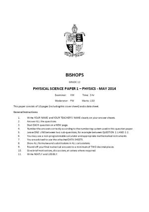 Physical Science Paper 1 Physics - May 2014