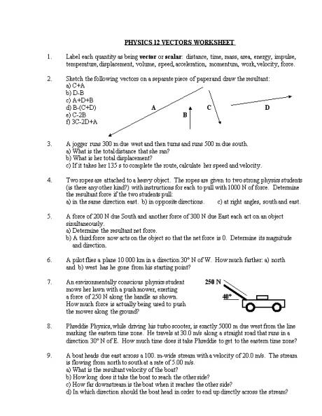 Physics 12 Vectors Worksheet Docsbay