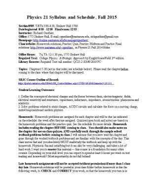 Physics 21 Syllabus and Schedule, Fall 2015