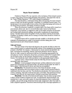 Physics Thesis Guidelines