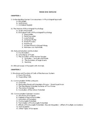Physiology of Behavior Module One Outline