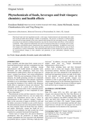 Phytochemicals of Foods, Beverages and Fruit Vinegars: Chemistry and Health Effects