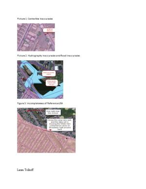 Picture 2: Hydrography Inaccuracies and Road Inaccuracies
