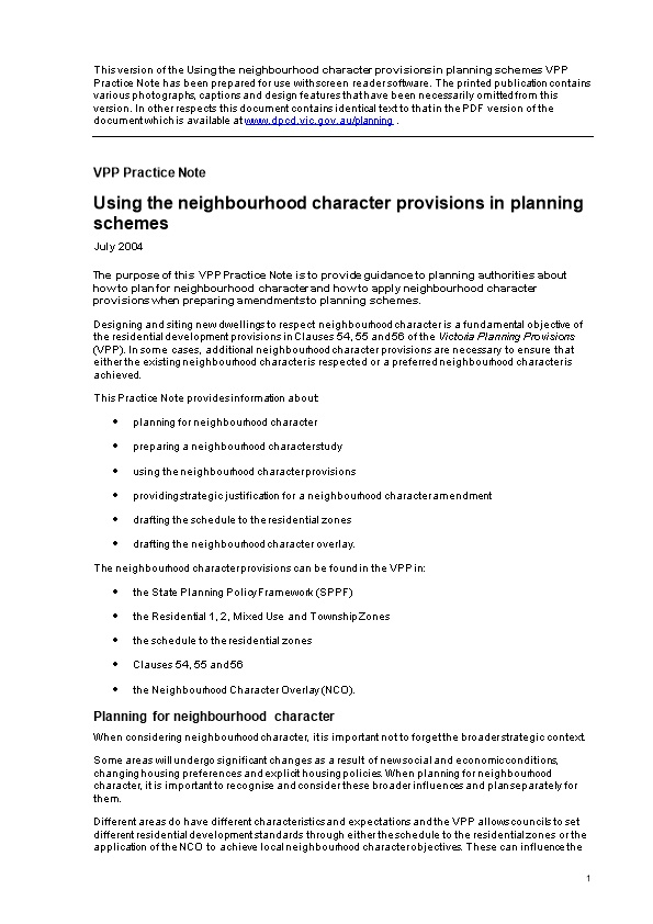 Planning Practice Note 28: Using the Neighbourhood Character Provisions in Planning Schemes