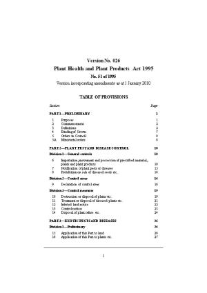 Plant Health and Plant Products Act 1995
