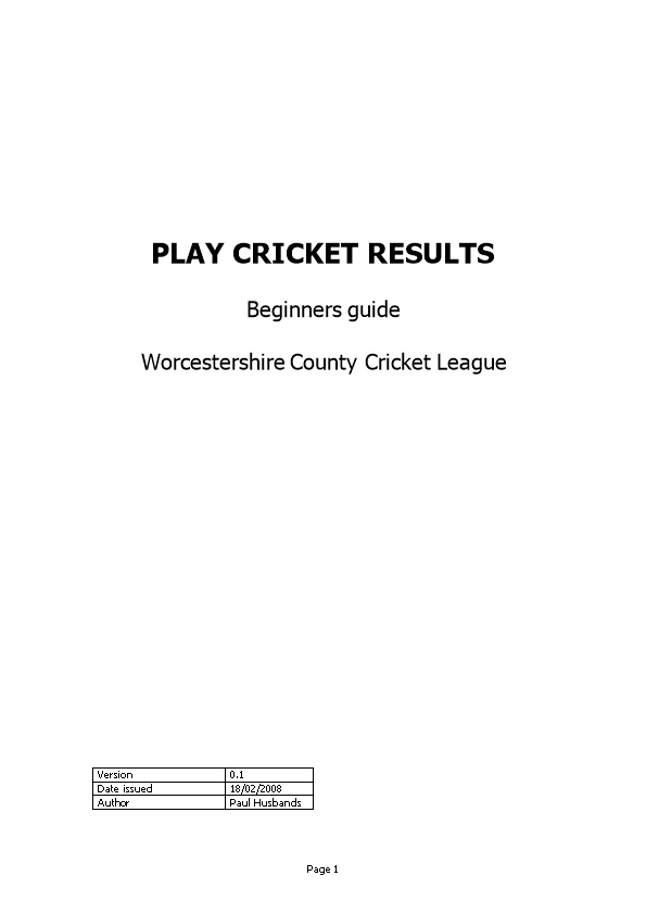 Play Cricket Results