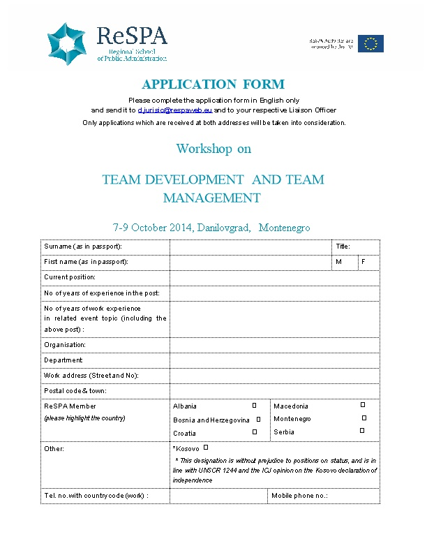 Please Complete the Application Form in English Only