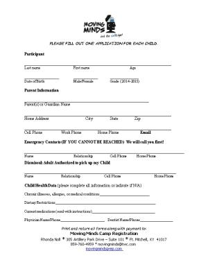 Please Fill out One Application for Each Child