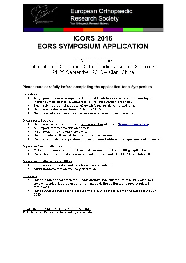 Please Read Carefully Before Completing the Application for a Symposium