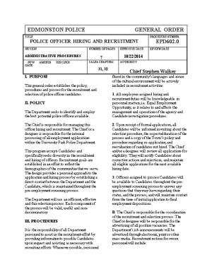 Police Officer Hiring and Recruitment Epd 602.0