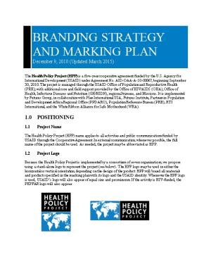 Policy Dialogue and Implementation Task Order 1: Branding Strategy