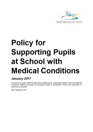 Policy for Supporting Pupils at School with Medical Conditions