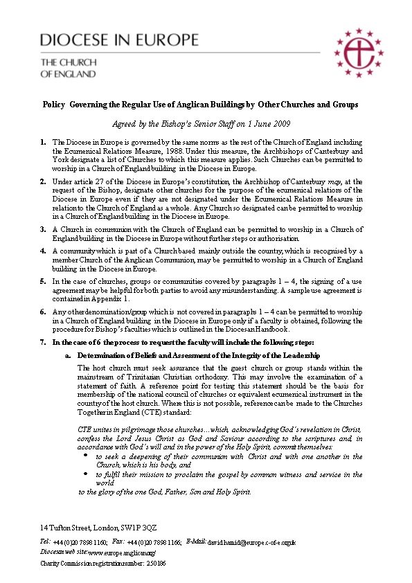 Policy Governing the Regular Use of Anglican Buildings by Other Churches and Groups