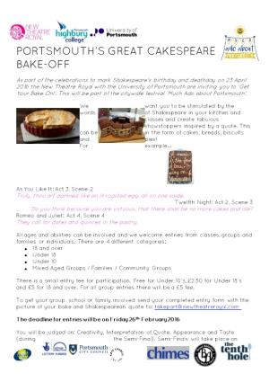Portsmouth S Great Cakespeare Bake-Off