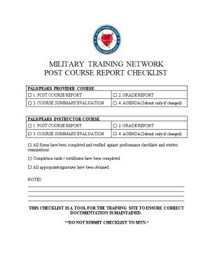 Post Course Report Checklist
