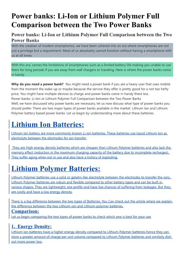 Power Banks: Li-Ion Or Lithium Polymer Full Comparison Between the Two Power Banks