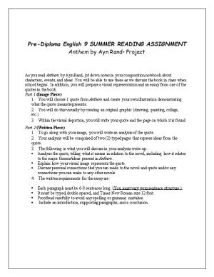 Pre-Diploma English 9SUMMER READING ASSIGNMENT
