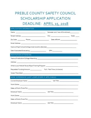 Preble County Safety Council Scholarship Application
