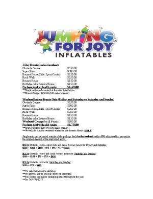 Pricing for Inflatable Parties
