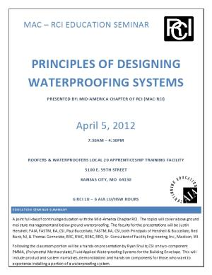 Principles of Designing Waterproofing Systems