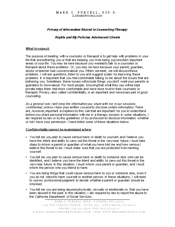 Privacy of Information Shared in Counseling/Therapy