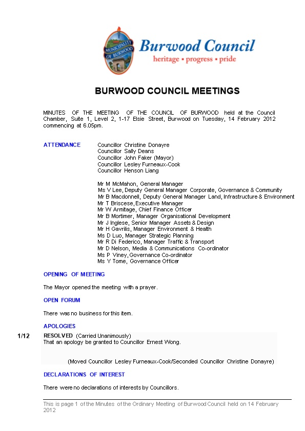 Pro-Forma Minutes of Burwood Council Meetings - 14 February 2012