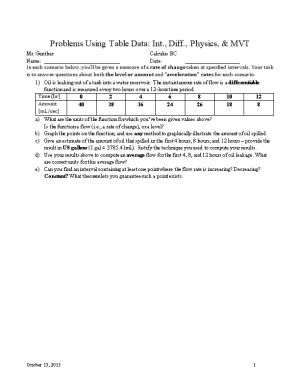 Problems Using Table Data: Int., Diff., Physics, & MVT