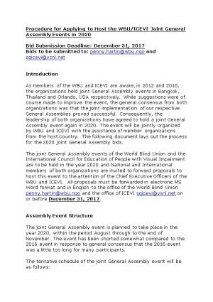 Procedure for Applying to Host the WBU/ICEVI Joint General Assembly Events in 2020