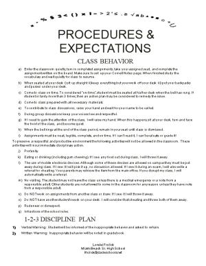 Procedures & Expectations