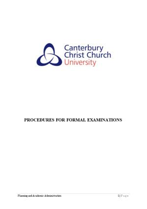 Procedures for Formal Examinations