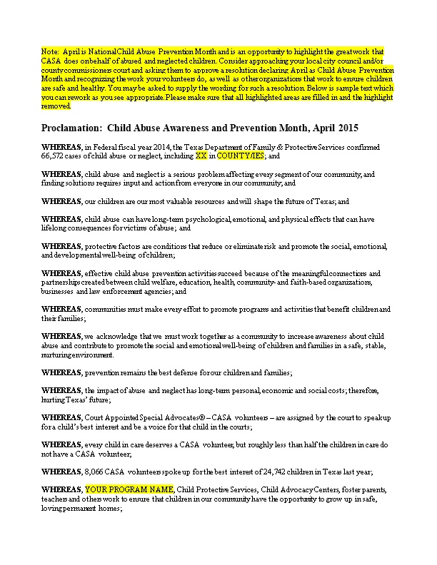 Proclamation: Child Abuse Awareness and Prevention Month, April 2015
