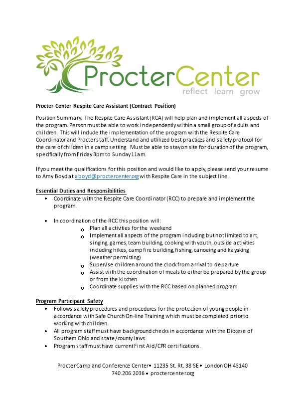 Procter Center Respite Care Assistant (Contract Position)