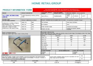 PRODUCT INFORMATION FORM (This Specification May Only Be Changed at the Request Of, Or