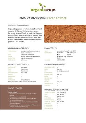 Product Specification Cacao Powder