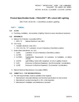 PRODUCT SPECIFICATION GUIDE LED Luminaires