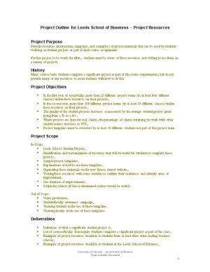 Project Outline for Leeds School of Business Project Resources