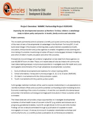 Project Overview: NHMRC Partnership Project #1091491
