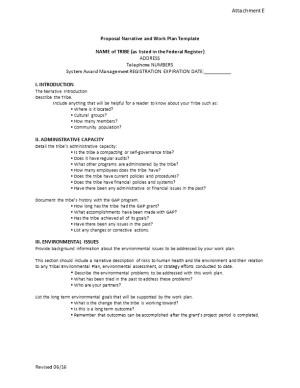 Proposal Narrative and Work Plan Template