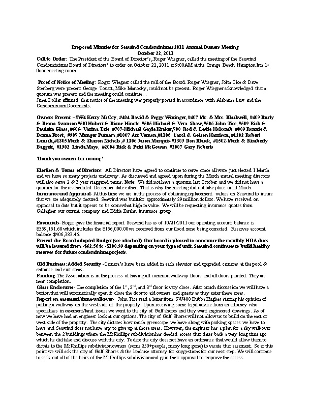 Proposed Minutes for Seawind Condominiums 2011 Annual Owners Meeting