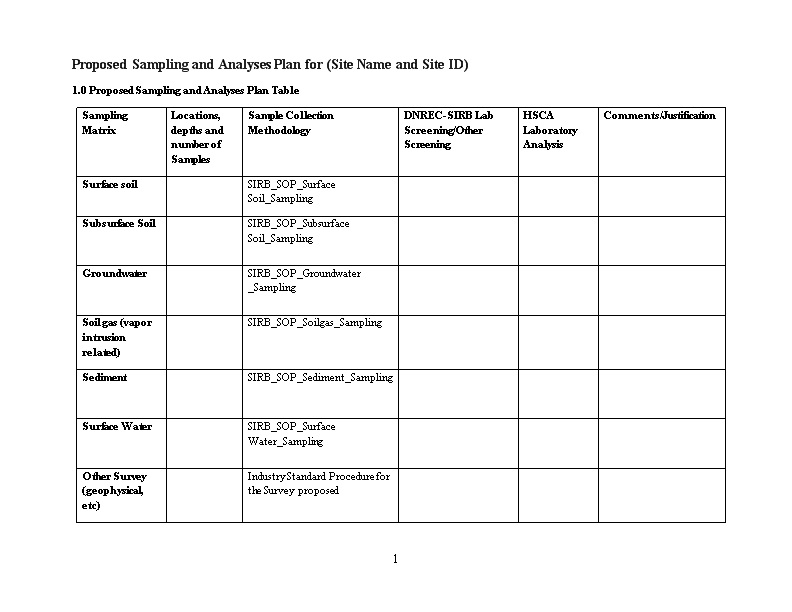 Proposed Sampling and Analyses Plan for (Site Name and Site ID)