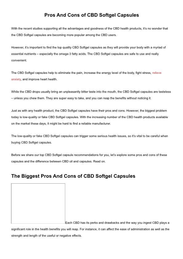 Pros and Cons of CBD Softgel Capsules