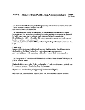 Provisional Outline of Events Appended