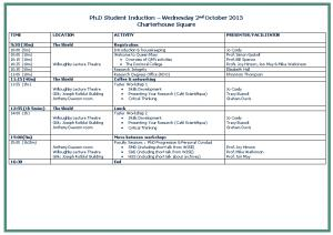 Provisional Plan for Research Student Induction