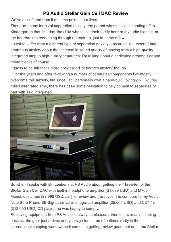PS Audio Stellar Gain Cell DAC Review