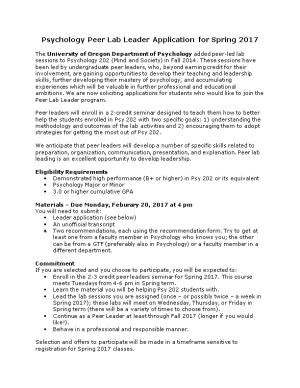 Psychology Peer Lab Leader Application for Spring 2017